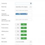 Детальный список атрибутов товара для JoomShopping